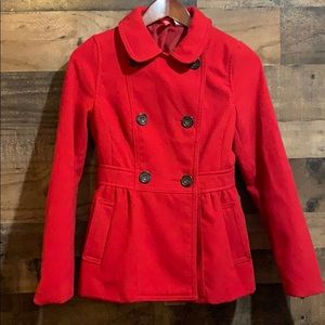 H&M Divided Red Pea Coat Winter Jacket